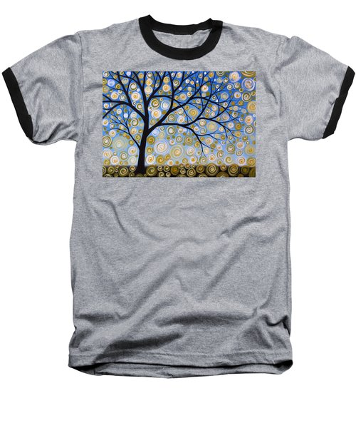 Baseball T-Shirt featuring the painting Abstract Tree Nature Original Painting Starry Starry By Amy Giacomelli by Amy Giacomelli