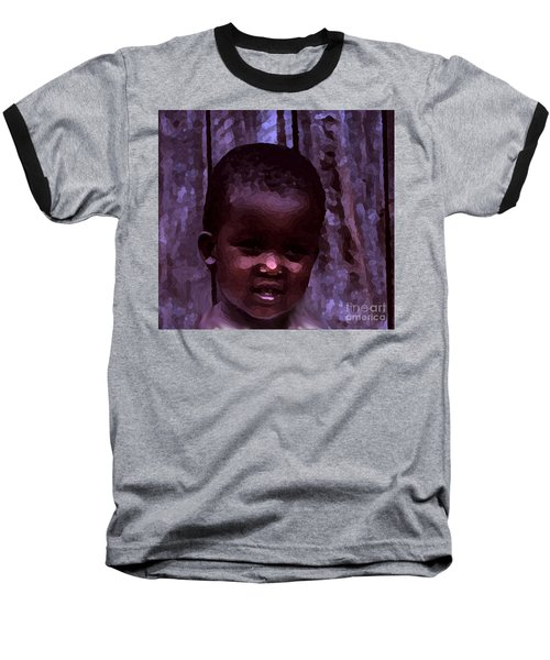 Baseball T-Shirt featuring the pyrography African Little Girl by Lydia Holly