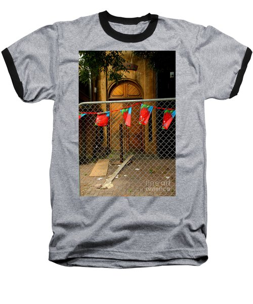 Baseball T-Shirt featuring the photograph After The Quakes - No Go Zone by Nareeta Martin