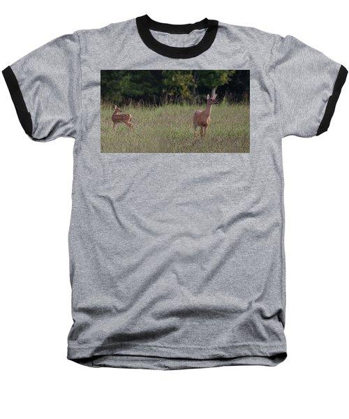 Alert Doe And Fawn Baseball T-Shirt