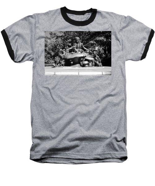 Alice In Wonderland In Central Park In Black And White Baseball T-Shirt