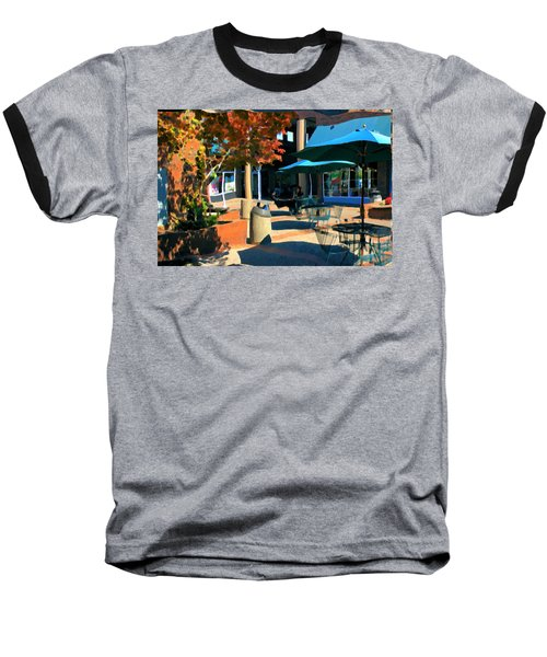 Baseball T-Shirt featuring the mixed media Alice's Wonderland Cafe by Terence Morrissey