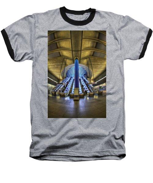 Alien Landing Baseball T-Shirt by Evelina Kremsdorf