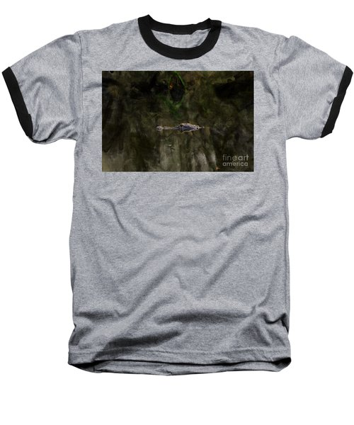 Baseball T-Shirt featuring the photograph Alligator In Swamp by Dan Friend