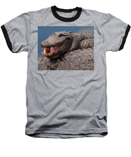 Baseball T-Shirt featuring the photograph Alligator Smile by Art Whitton