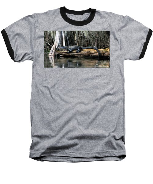 Alligator Sunning Baseball T-Shirt
