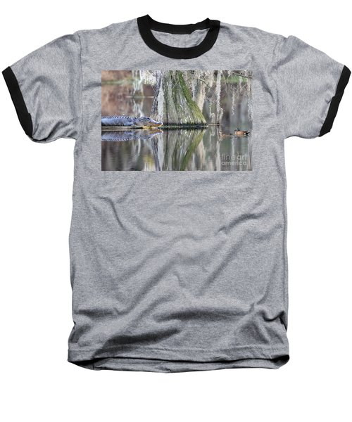 Baseball T-Shirt featuring the photograph Alligator Waiting For Dinner by Dan Friend