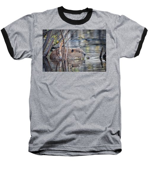 American Beaver Baseball T-Shirt by Ronald Lutz
