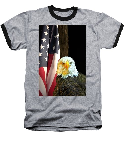 Baseball T-Shirt featuring the photograph American Eagle And American Flag by Randall Branham