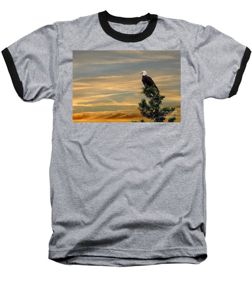 Baseball T-Shirt featuring the photograph American Eagle Sunset by Dan Friend