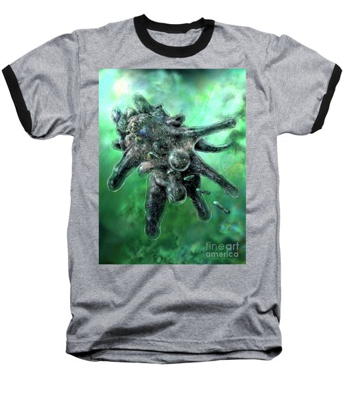 Baseball T-Shirt featuring the digital art Amoeba Green by Russell Kightley