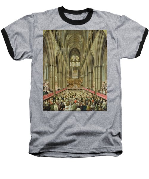 An Interior View Of Westminster Abbey On The Commemoration Of Handel's Centenary Baseball T-Shirt by Edward Edwards