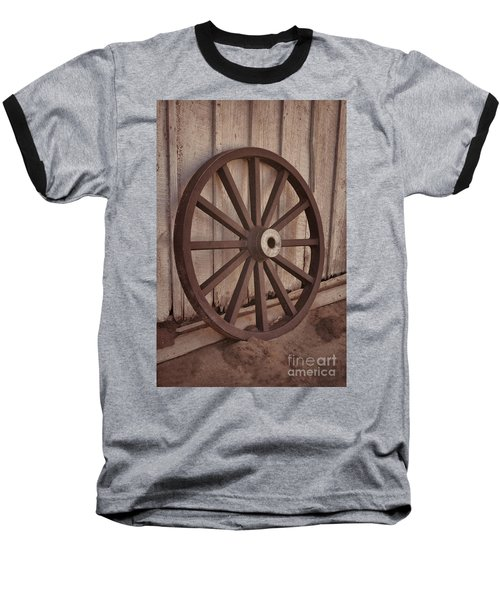 An Old Wagon Wheel Baseball T-Shirt by Donna Greene