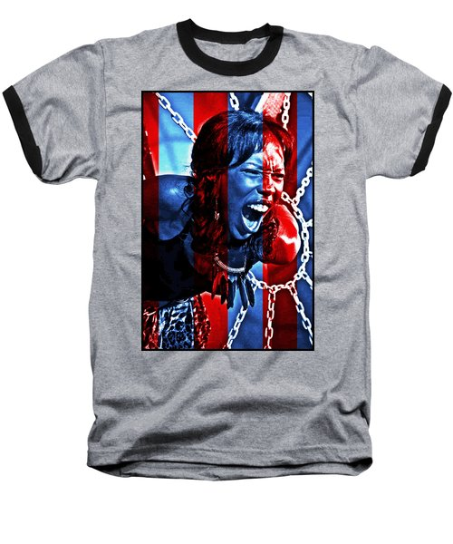 Baseball T-Shirt featuring the photograph Anger In Red And Blue by Alice Gipson
