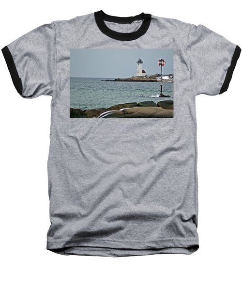 Annisquam Lighthouse Baseball T-Shirt by Joe Faherty