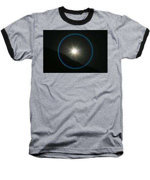 Baseball T-Shirt featuring the photograph Annular Solar Eclipse - Blue Ring At Vasquez Rocks by Lon Casler Bixby