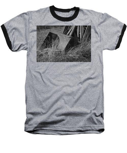 Baseball T-Shirt featuring the photograph Antique Tractor Bucket In Black And White by Jennifer Ancker