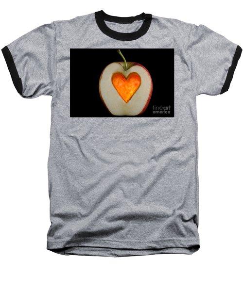 Apple With A Heart Baseball T-Shirt