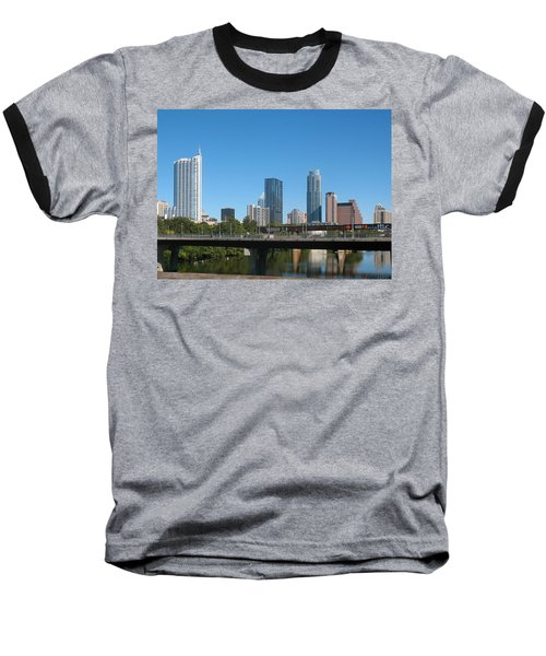 Austin Texas 2012 Skyline And Water Reflections Baseball T-Shirt by Connie Fox