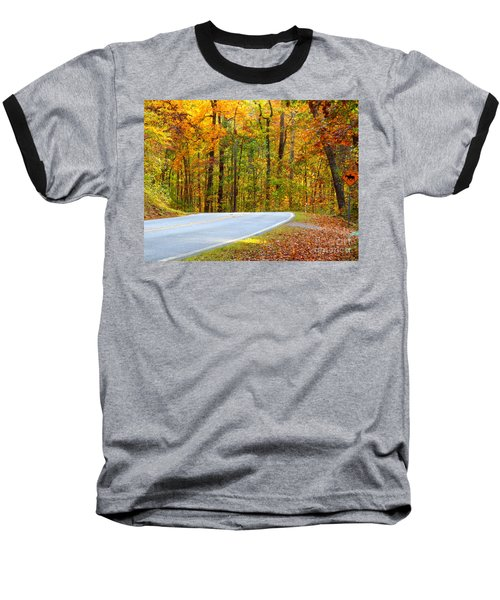 Baseball T-Shirt featuring the photograph Autumn Drive by Lydia Holly