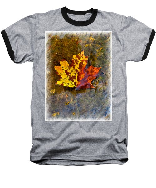 Baseball T-Shirt featuring the digital art Autumn Maple Leaf In Water by Debbie Portwood