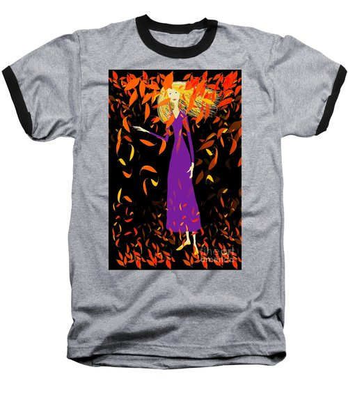 Baseball T-Shirt featuring the digital art Autumn Spirit by Barbara Moignard
