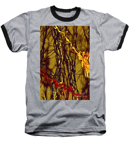 Shapes Of Fire Baseball T-Shirt by Leo Symon