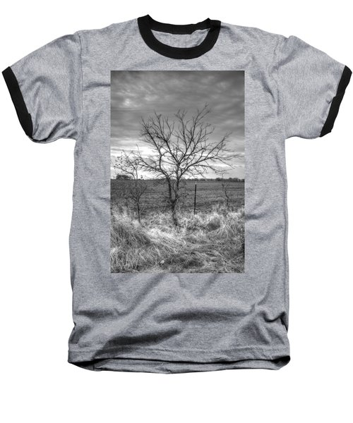 B/w Tree In The Country Baseball T-Shirt