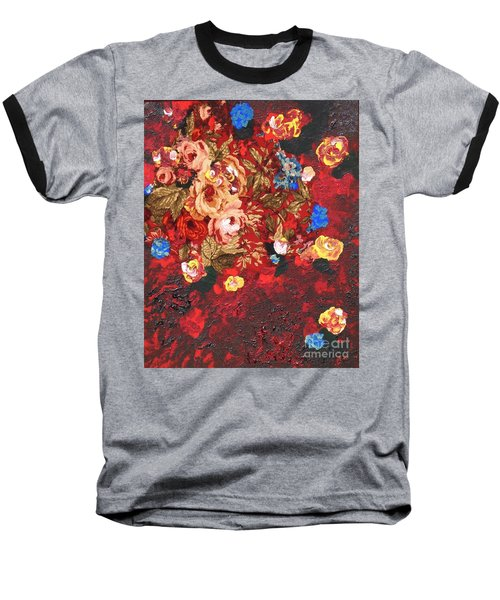 Baseball T-Shirt featuring the painting Baba's Garden Lg by Alys Caviness-Gober