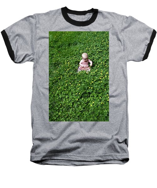 Baby In A Field Of Flowers Baseball T-Shirt