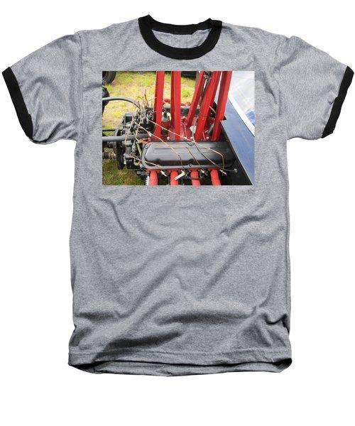 Barbwire Engine Baseball T-Shirt by Kym Backland