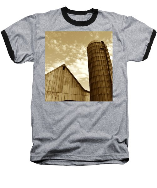 Barn And Silo In Sepia Baseball T-Shirt