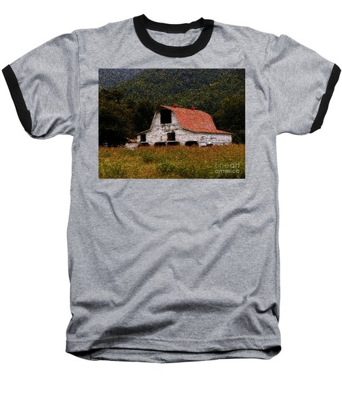 Baseball T-Shirt featuring the photograph Barn In Mountains by Lydia Holly