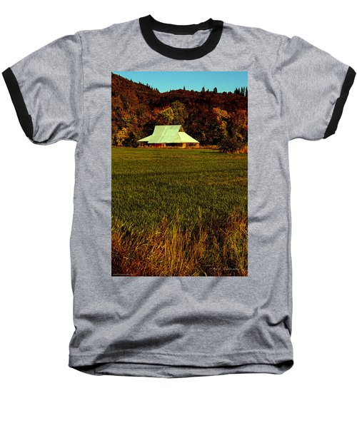 Barn In The Style Of The 60s Baseball T-Shirt by Mick Anderson