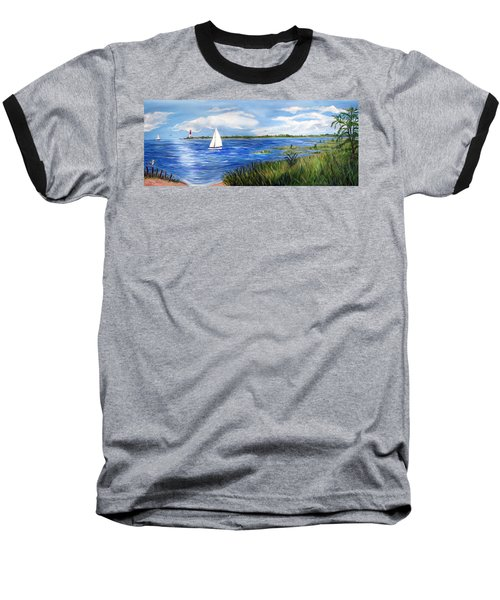 Bayville Marsh Baseball T-Shirt by Clara Sue Beym