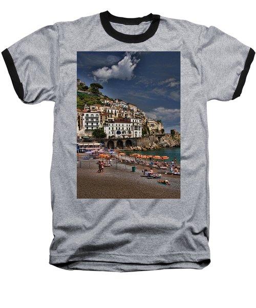 Beach Scene In Amalfi On The Amalfi Coast In Italy Baseball T-Shirt