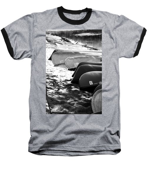 Baseball T-Shirt featuring the photograph Beached Kayaks by Julia Wilcox