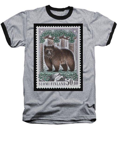 Bear Vintage Postage Stamp Print Baseball T-Shirt