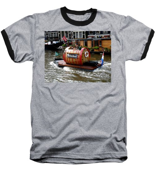 Beer Boat Baseball T-Shirt by Lainie Wrightson