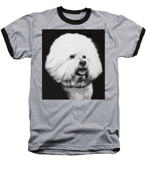 Baseball T-Shirt featuring the drawing Bichon Frise by Rachel Hames