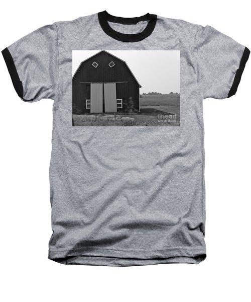 Big Tooth Barn Black And White Baseball T-Shirt