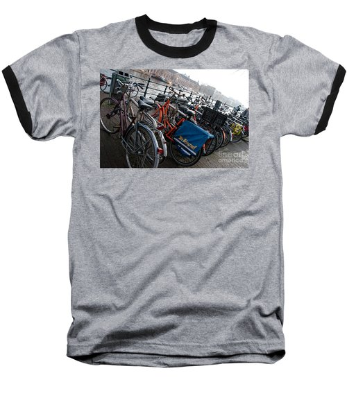 Baseball T-Shirt featuring the digital art Bikes In Amsterdam by Carol Ailles