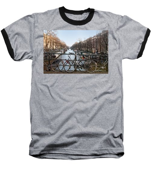 Baseball T-Shirt featuring the digital art Bikes On The Canal In Amsterdam by Carol Ailles