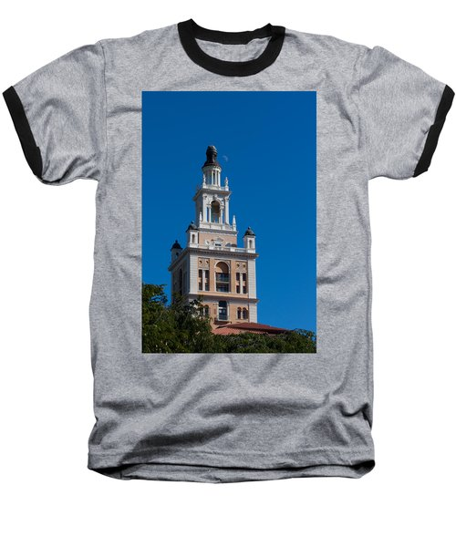 Baseball T-Shirt featuring the photograph Biltmore Hotel Tower And Moon by Ed Gleichman
