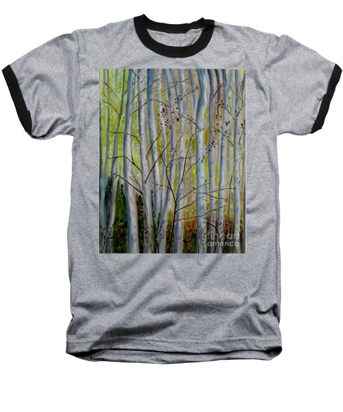 Baseball T-Shirt featuring the painting Birch Forest by Julie Brugh Riffey