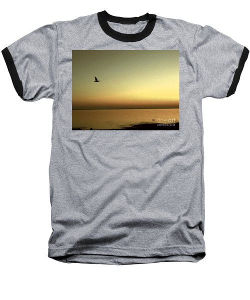 Bird At Sunrise - Sepia Baseball T-Shirt