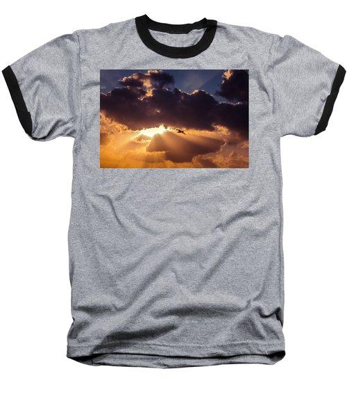 Bird In Sunrise Rays Baseball T-Shirt