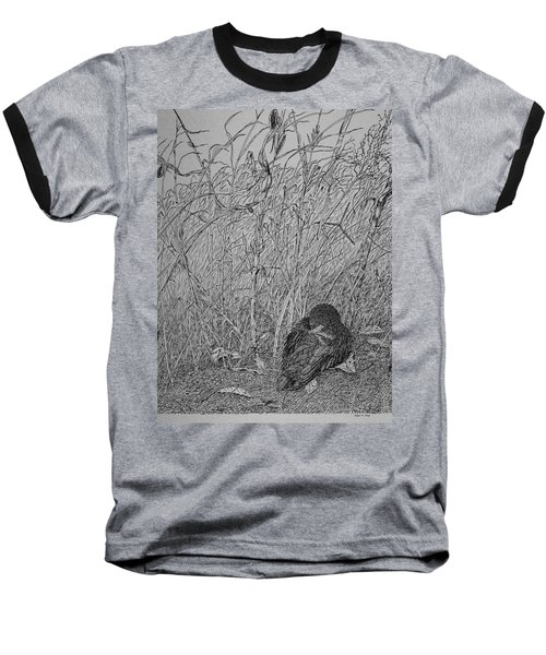 Baseball T-Shirt featuring the drawing Bird In Winter by Daniel Reed
