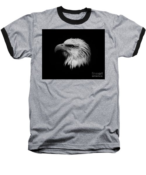 Baseball T-Shirt featuring the photograph Black And White Eagle by Steve McKinzie