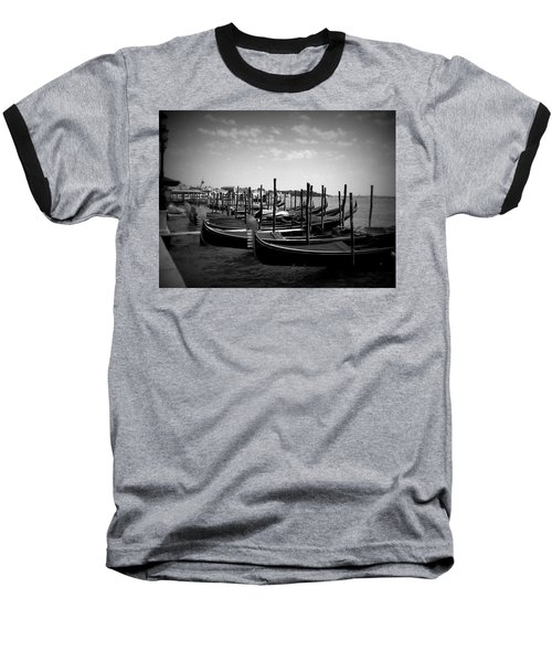 Baseball T-Shirt featuring the photograph Black And White Gondolas by Laurel Best
